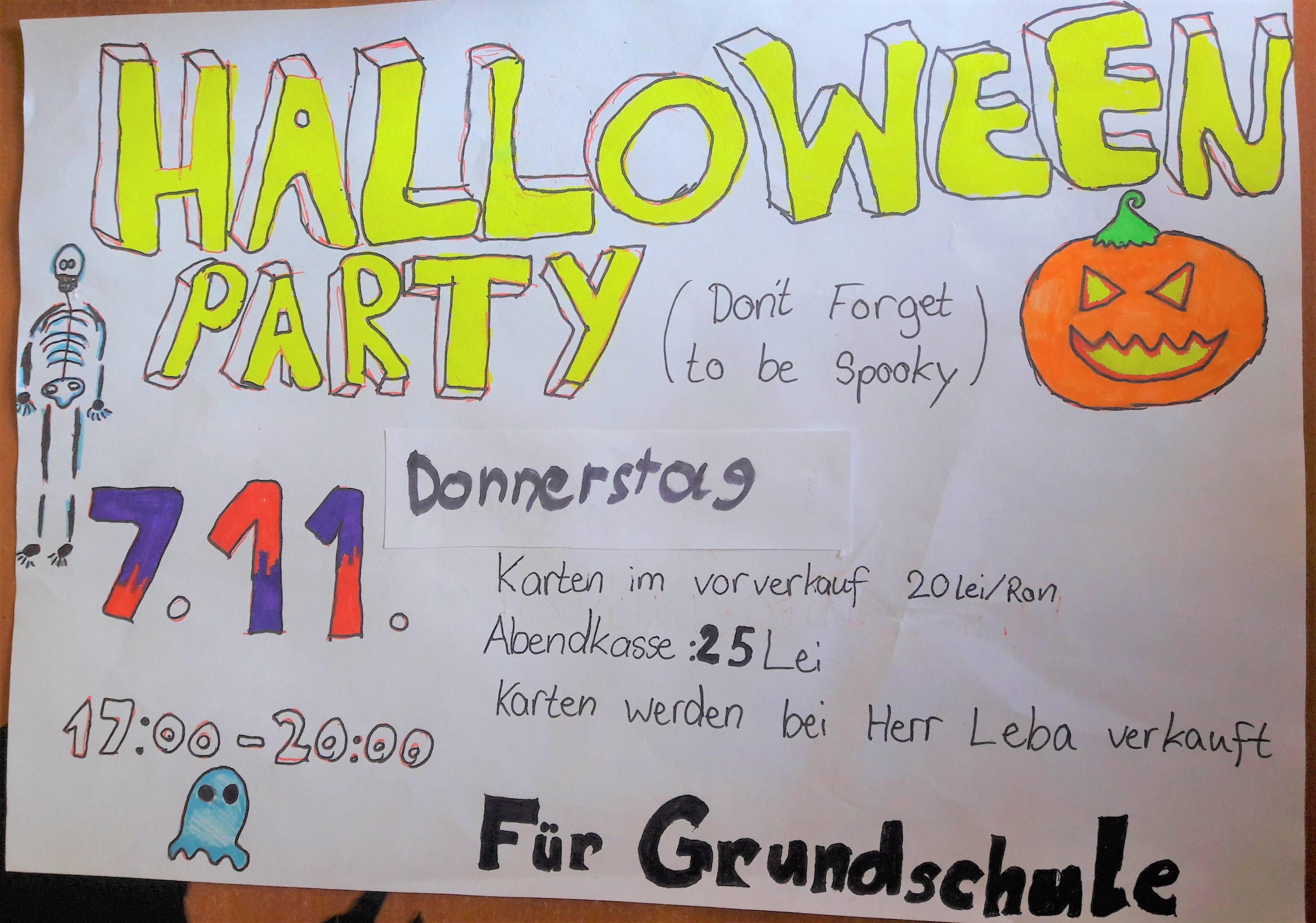 Petrecerea de Halloween a scolii primare dsbu